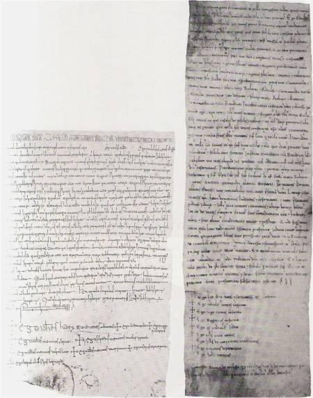 Il diploma (copia?) dell'anno 1088 conservato presso il monastero di Montevergine (a sn). Il diploma dell'anno 1092 conservato nella biblioteca del monastero di Montecassino (a ds.).