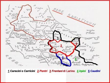 """I popoli """"ITALICI"""" nei loro confini."""
