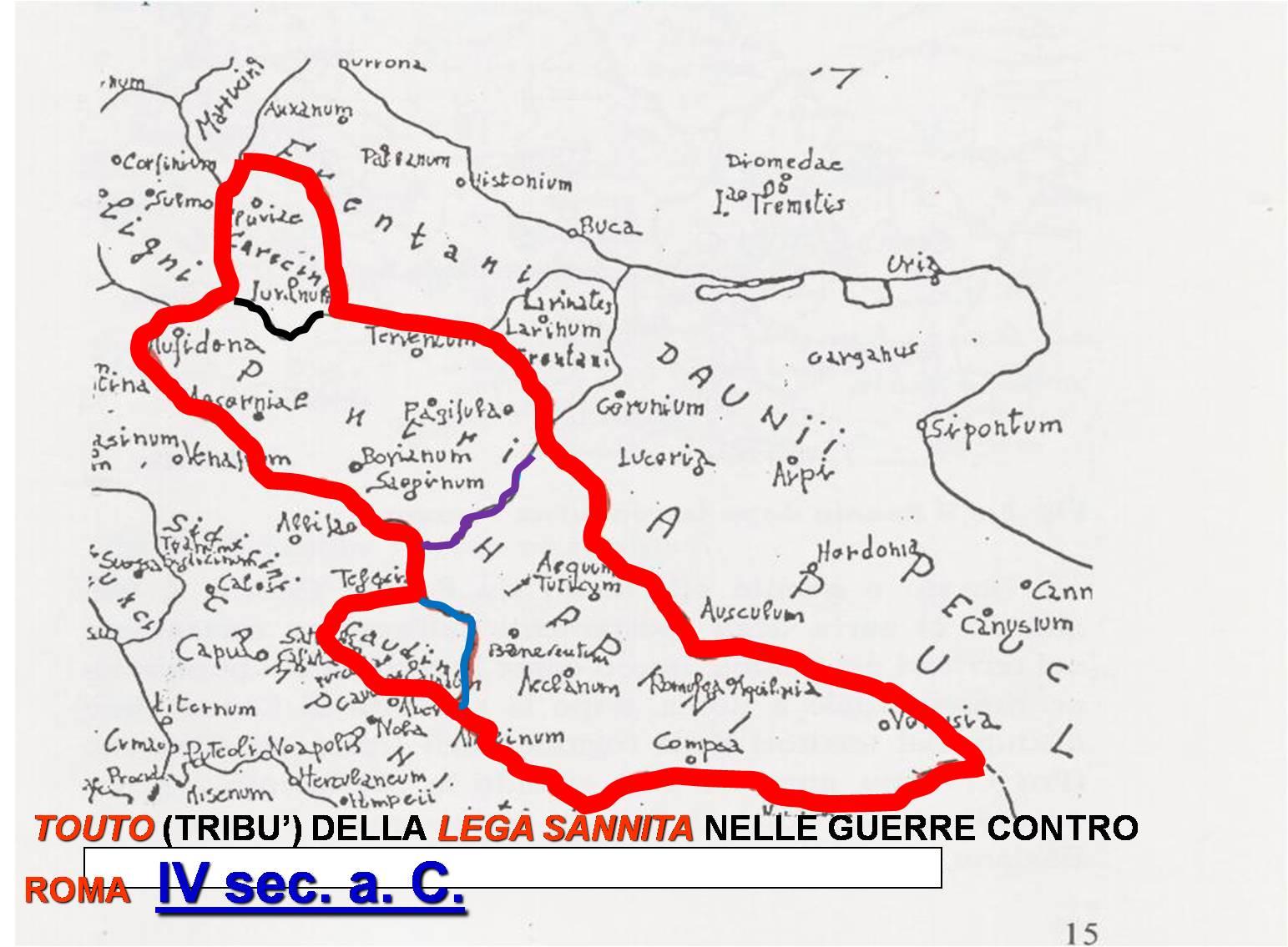 Cartina del territorio del Samnium durante le guerre contro Roma