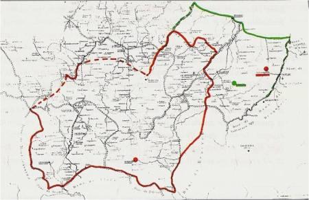"""anno 1142: La """"contea"""" di BOJANO di Ugo II con il """"feudo"""" di Serracapriola, poi denominata contea di MOLISE (rosso)."""