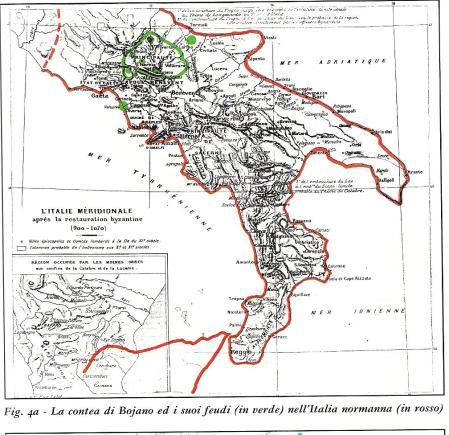 """La """"contea"""" di Bojano ed i suoi """"feudi""""  (verde) dopo l'espansione del conte Ugo (I)"""