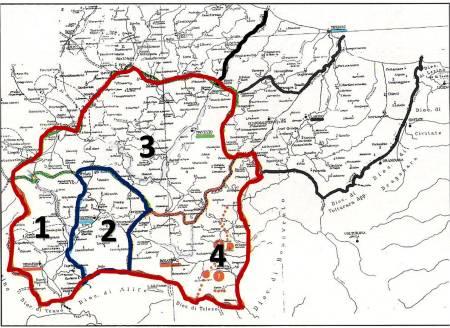 """I confini del territorio del """"gastaldato"""" di """"Alzecone"""" (rosso scuro) che comprendeva i """"municipii"""" romani di Venafro (1), Isernia (2), Trivento (3), Bojano e Sepino (4, i territori  dei 2 """"municipi"""" sono separati dai punti rossi)."""