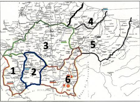 Il territorio delle contee di Venafro (1), contea di Isernia (2), contea di Trivento (3) e contea di Bojano 4) avevano fatto (anno 667) parte del gastaldato di Alzecone, Divennero (anno 897?) 4 contee autonome. Nel territorio frentano furono istituite la contea di Termoli (4) e la contea di Larino (5).