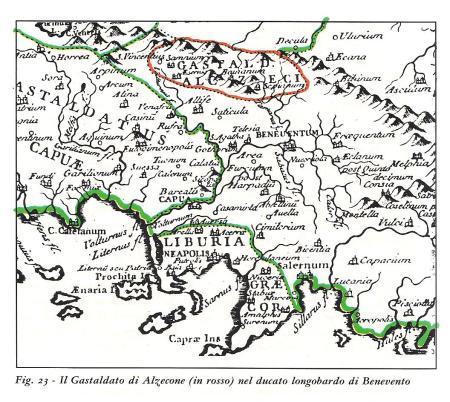 Il gastaldato del bulgaro Alzecone (rosso) nel ducato longobardo di Benevento. Anno 667.