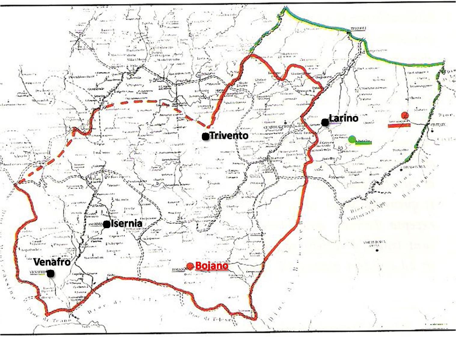 La contea di MOLISE (anno 1142), già contea di BOJANO, nella sua massima espansione.