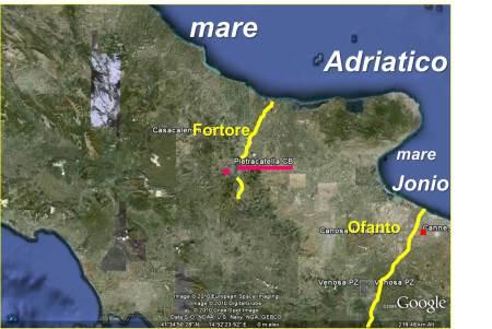 """La """"nuova ipotesi"""" basata sulla descrizione di TOLOMEO: il fiume Fortore sfociava nel mare Adriatico perchè a nord del Gargano. Il fiume Ofanto sfociava nel mare Jonio perchè a sud del promontorio."""