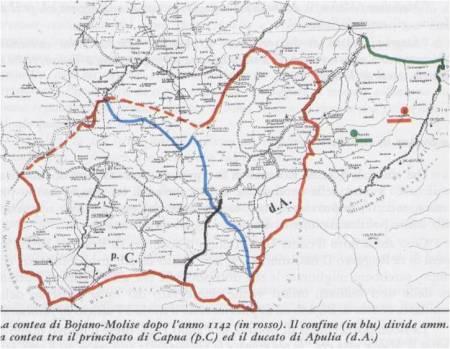 La contea di Bojano (rosso) dopo le conquiste di Rodolfo ed Ugo (I).