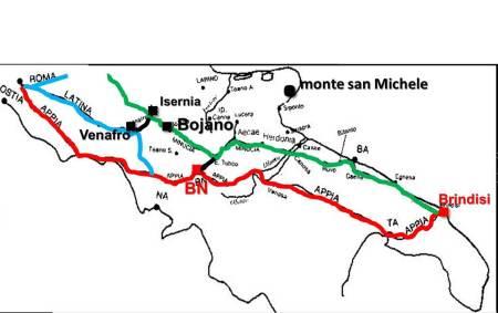 """Le """"vie"""" principali per raggiungere monte san Michele sul Gargano e i porti di Bari e Brindisi per l'oriente: via Appia (rosso); via Latina (celeste); via Minucia (verde)."""