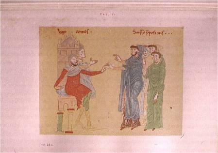 """Miniatura del """"Regesto di S. Angelo in Formis"""": """"Ugo comes qui dicitur de Mulisi """" (abito rosso) fa donazione all' """"abate Sexto"""". anno 1097."""