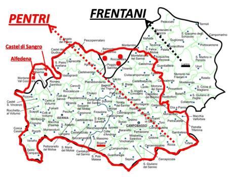Il MOLISE: il territorio dei PENTRI (rosso) + il territorio dei FRENTANI di Larino ( a ds., nero).
