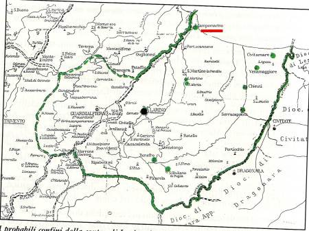 """La """"contea"""" di Larino (verde) e la """"civitas"""" di Campomarino (rosso)."""