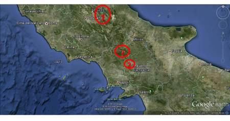 La MAIELLA (1). Il MATESE (2). Monte TABURNO (3).