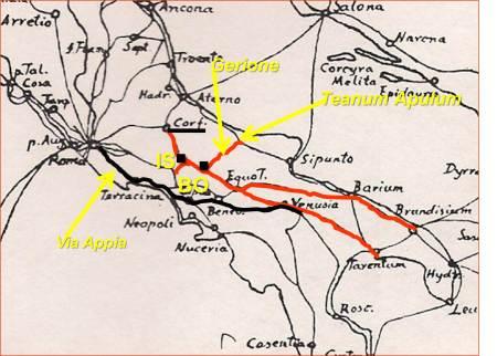 """La via consolare """"MINUCIA"""" (verde). L'APPIA (rosso). La via consolare """"LATINA"""" (azurro). Raccordo della via """"LATINA"""", presso S. Pietro Infine  con la città di Venafro, fino ad Isernia, via """"MINUCIA""""."""