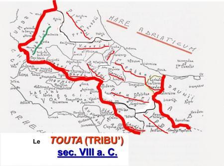 """Le tribù che, partendo dalla SABINA, si formarono dopo il rito del """"ver sacrum""""."""