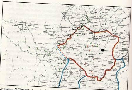 """La """"contea"""" di TRIVENTO (rosso) ed i centri (verde) dei possedimenti della """"Terra Burrellensis"""" (verde)."""