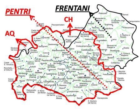 Il territorio della tribù dei PENTRI (rosso).