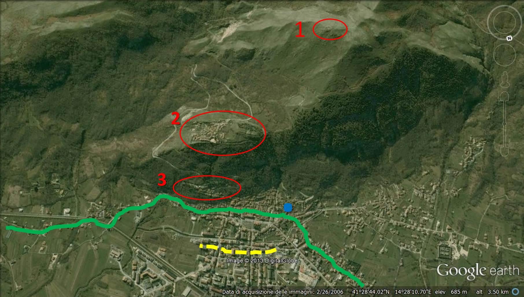 """1. monte Crocella, già """"colle pagano"""". 2. la collina di Civita Suoeriore di Bojano, sulla sommità fu fondata BOVAIANOM. 3. Terrazzamento. Il pecordo del tratturo Pescasseroli-Candela. (giallo) Il probabile limite della espansione di """"Bovianum""""  in epoca romana."""