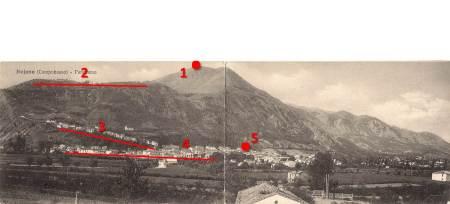 """1) sommità di monte Crocella, già """"colle paganao"""". 2) sommità di Civita Superiore, sede di """"BOVAIANOM"""". 3) Terrazzamento di contrada Piaggia-san Michele. 4) Insediamento di """"BOVIUANUM"""" città sanntica-romana. 4) Necropoli sannitica."""