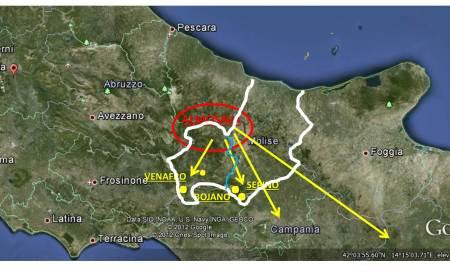 Il territorio di ALMOSAVA (rosso) ed il MOLISE (bianco. azzurro prov IS)) le migrazioni (giallo) verso Venafro-Isernia. Bojano-Sepino, Verso la Campania e la Lucania (giallo).