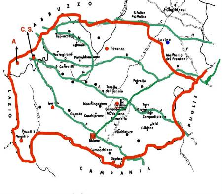 """Il territorio (rosso) della tribù dei """"PENTRI""""."""
