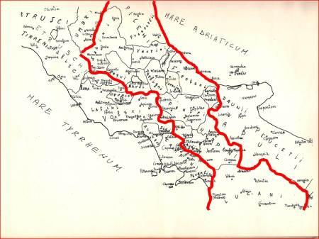"""La vasta area (rosso) della penisola italica occupata dai """"Safin/Sabini/Sanniti"""" nelle loro rispettive sedi."""