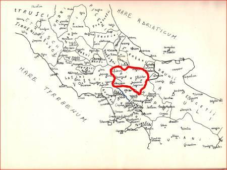 """Il territorio (rosso) della tribù dei """"PENTRI"""" che Romani considerarono """"SANNIO""""."""