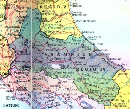 """La """"IV regione augustea"""" """"SAMNIUM""""."""
