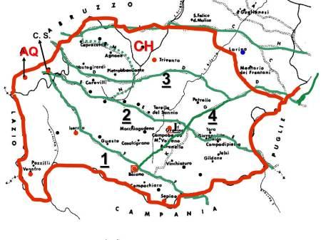 """Il territorio dei """"PENTRI"""" (cofini rosso) ed i tratturi (verde): 1) Pescasseroli-Candela. 2) Castel di Sangro-Lucera. 3) Celano-Foggia. 4) Matese- Cortile- Centocelle."""