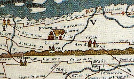 """Tabula Peutingeriana"""": """"Bobiano"""" / Bojano (due torri) e """"Hercul Rani"""" / Campochiaro."""