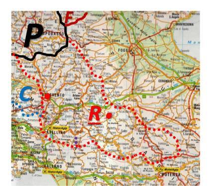 La localizzazione di Romuleam/Romulea nel territorio (rosso) dei Sanniti/Irpini.