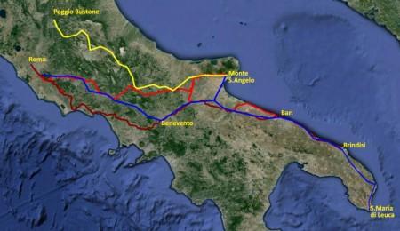 giallo: itinerario Seracchioli – blu: itinerario D'Atti/Cinti – rosso: itinerario Iubilantes mattone: itinerario ministeriale.