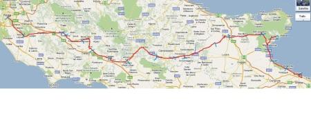 L'itinerario Iubilantes (linea rossa): prima di Mignano Monte Lungo, devia per Venafro e prosegue nel territorio della regione Molise fino a Monte Sant'Angelo-Manfredonia-Barletta.