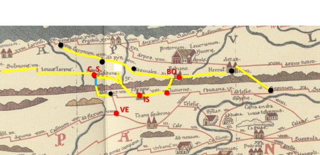 Tabula Peutingeriana (III sec.): in evidenza (linea gialla) le strade i cui tracciati sono stati utilizzati dalle moderne Strade Statali riportate nella soprastante figura. [da sinistra verso destra: VE = Venafro. Punto nero = ad Rotas (Monteroduni). C. S. = Castel di Sangro. IS = Isernia. Punto rosso = Cluturno (Santa Maria del Molise). BO = Bojano. Punto nero = Hercul Rani (Campochiaro). Punto nero = Sepinum (Sepino)]. [da BO = Bojano in alto verso sinistra: punto nero = ad Canales (Baranello). Segue punti neri = ad Pyr (Campolieto) e Geronum (Casacalenda).